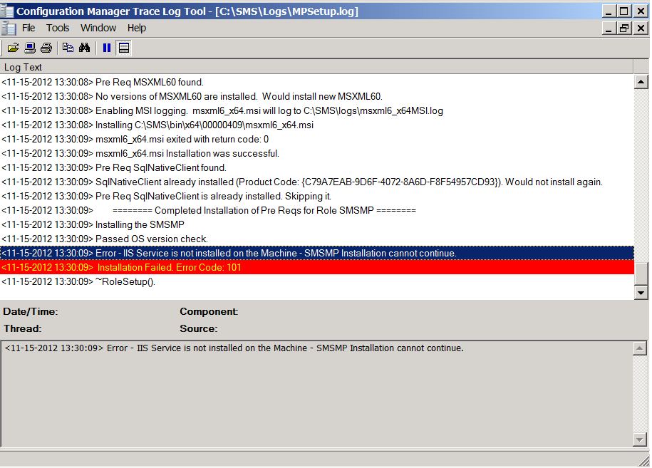 MP Install Failed-Part 1- IIS Error Code 101 | System Center